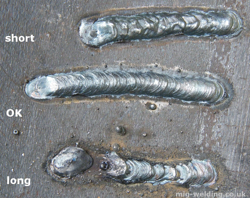 normal arc weld. The weld has a consistent profile and minimal