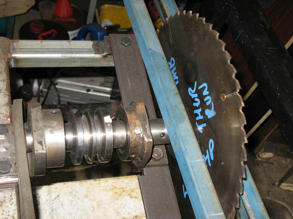 12. Top shaft with pulleys, blade and tube supports both side of blade IMG_0783.jpg