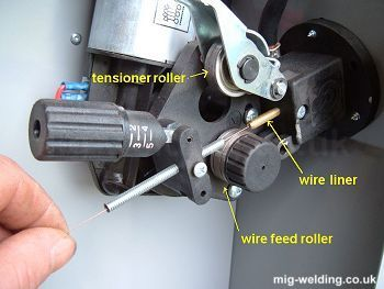 Installing mig wire and setting wire feed tension for Hobart welder wire feed motor