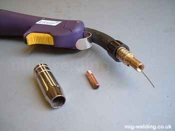 MIG welding torch with tip and shroud removed